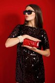 Beautiful young girl in a black dress with red purse