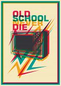 Retro poster with tv. Vector illustration.