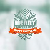 Christmas greeting card. Christmas emblem on brured background
