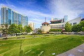 NASHVILLE, TENNESSEE - JUNE 14, 2013: Country Music Hall of Fame viewed from Music City Walk of Fame Park.
