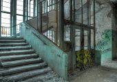 Old Elevator In An Abandoned Hospital In Beelitz