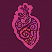 Decorative heart. Ethnic pattern.