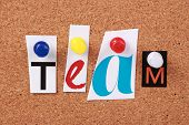 stock photo of crew cut  - The word Team in cut out magazine letters pinned to a corkboard - JPG