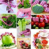 collage concept diet vegetables and fruits with measuring tape