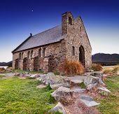 Church of the Good Shepherd at sunrise, Lake Tekapo, New Zealand