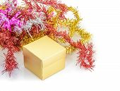 Christmas Decoration With Gift Box And Fir Branch