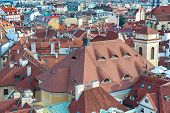 Top View Of Houses With Traditional Red Roofs In Prague (czech Republic).