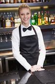 Pretty waitress smiling at the camera in a bar