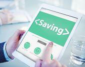 Digital Online Saving Finance Office Working Concept