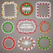 Christmas Paper Garlands Frames with a Copy Space Set