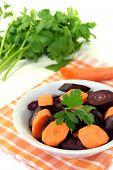 Fresh Sliced Orange And Purple Carrots