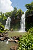Two Waterfalls  At The Iguazu Falls