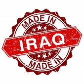 Made In Iraq Red Stamp Isolated On White Background
