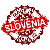 Made In Slovenia Red Stamp Isolated On White Background