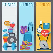 Sports vertical banners with fitness icons in flat style.