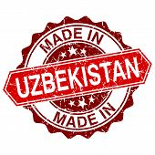 Made In Uzbekistan Red Stamp Isolated On White Background