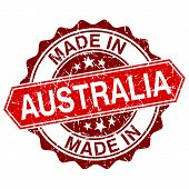 Made In Australia Red Stamp Isolated On White Background