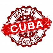 Made In Cuba Red Stamp Isolated On White Background