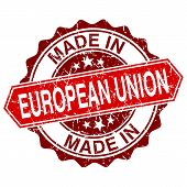 Made In European Union Red Stamp Isolated On White Background