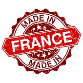 Made In France Red Stamp Isolated On White Background