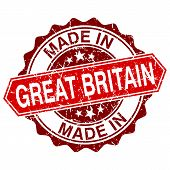 Made In Great Britain Red Stamp Isolated On White Background