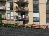 US flag on apartment in Chicago