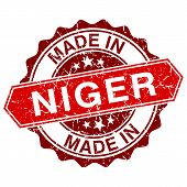 Made In Niger Red Stamp Isolated On White Background