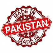 Made In Pakistan Red Stamp Isolated On White Background