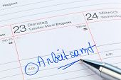 an appointment is entered in a calendar employment office