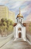 pic of novosibirsk  - Drawing a pastel on a cardboard - JPG