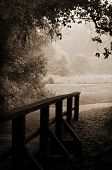 Sepia-toned Wooden Bridge And Path