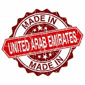 Made In United Arab Emirates Red Stamp Isolated On White Background