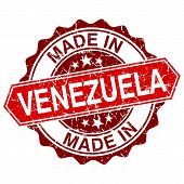 Made In Venezuela Red Stamp Isolated On White Background