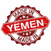 Made In Yemen Red Stamp Isolated On White Background
