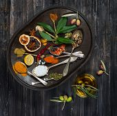 Various Spices, Olives And Olive Oil, Top View