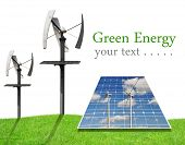 Solar energy panels and wind turbines on white background. Green energy concept.