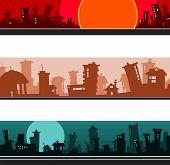 Panorama Of The Cartoon City, Set.eps