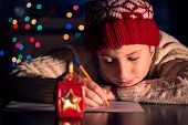 foto of letters to santa claus  - The child writes a letter to Santa Claus - JPG