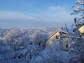 foto of snowy hill  - snowy small town in the hills of the valley - JPG