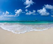 beautiful blue caribbean sea beach