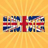 Manchester flag text with sunburst illustration