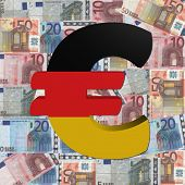 Euro symbol with German flag on Euro currency illustration