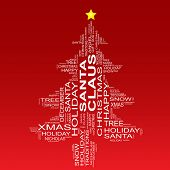 Conceptual Christmas or Santa Claus fir tree made of text as wordcloud isolated on red background