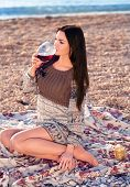 Woman Holding Glass Of Red Italian Wine.