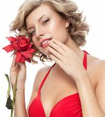 closeup portrait of attractive  caucasian  woman blond isolated on white studio shot lips  face hair head and shoulders looking at camera blue eyes red rose flower