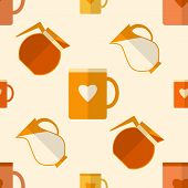 Flat seamless pattern with coffee items