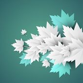 green background with origami leaves - JPG version