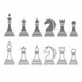 Vector chess pieces including king, queen, rook, pawn, knight, and bishop