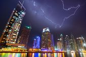 Thunderstorm in Dubai Marina at night, UAE