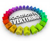 Location is Everything 3d words surrounded by colored houses or homes in best real estate community or neighborhoods